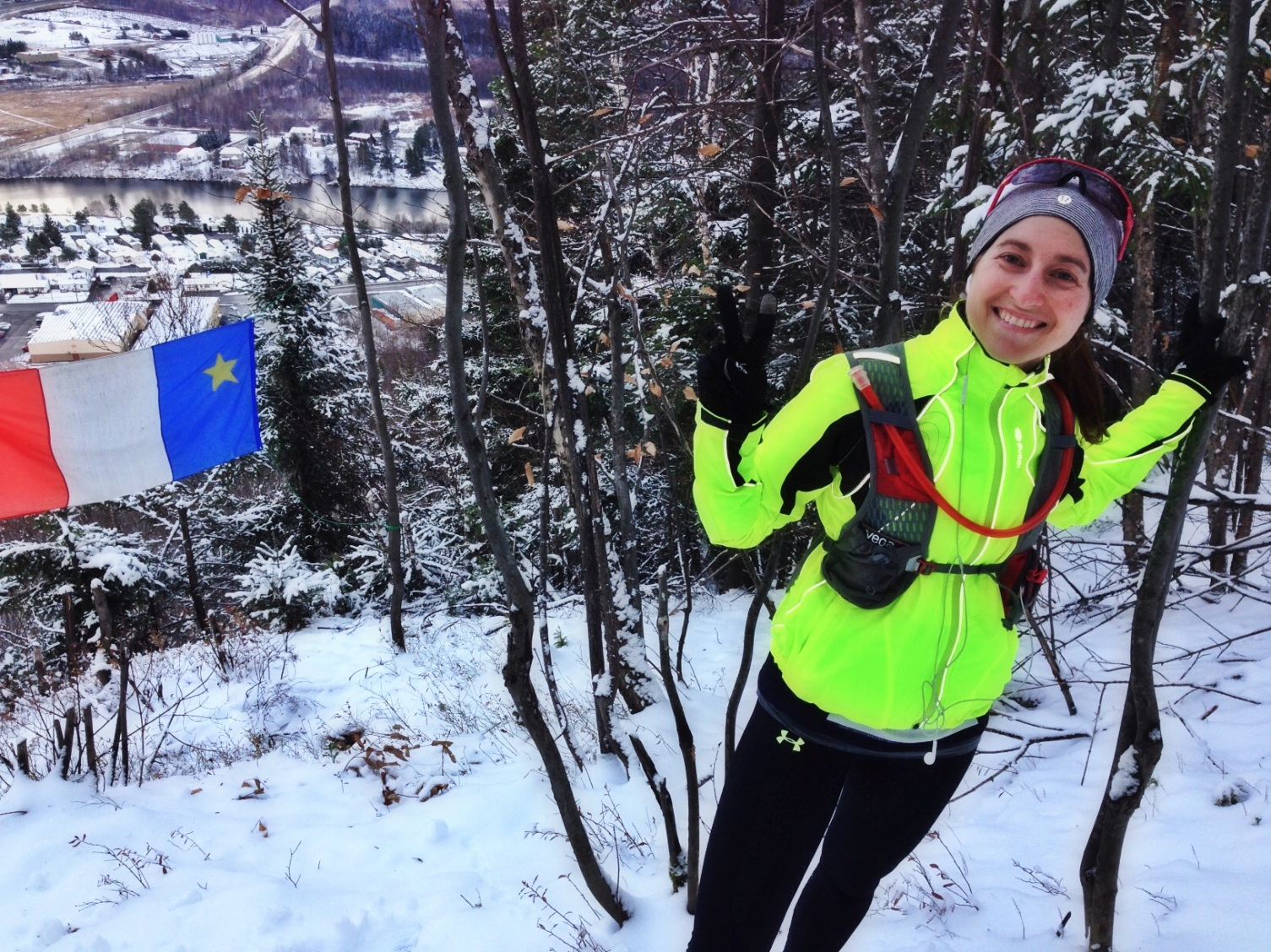 Carole entrainement trails vélo de montagne hiver 2014